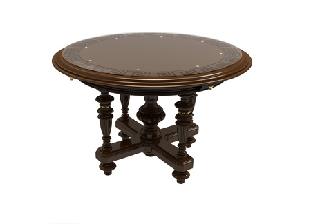 Round decorative table with a pattern on a table-top Stock Photo