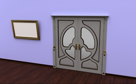 premise: Interior of a premise with the closed door and a picture