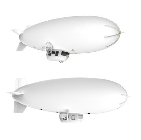 ballon dirigeable: Deux ballons dirigeables blanc avec des moteurs sur un fond blanc Banque d'images