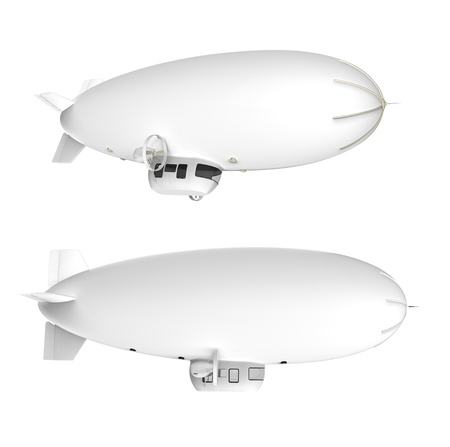 Two white dirigible balloons with motors on a white background