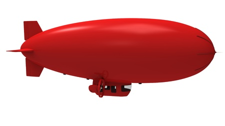 dirigible:  3d render of  red dirigible balloon on a white background Stock Photo