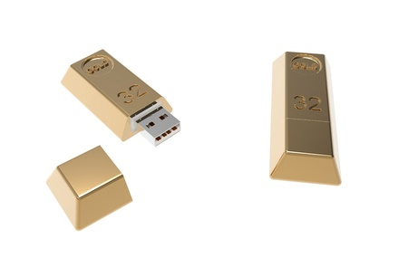 3d render of  gold usb flash drive  Stock Photo - 8927150
