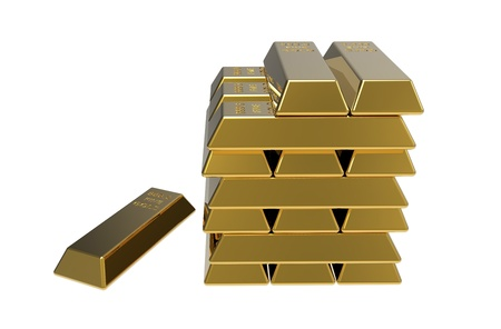 3d render of gold bars on white background Stock Photo - 8927160