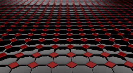 black block: Cifras de negras y rojas brillantes de una forma cuadrada