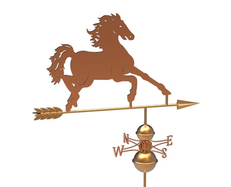3d render of  bronze weather vane in the form of a horse on a white background photo