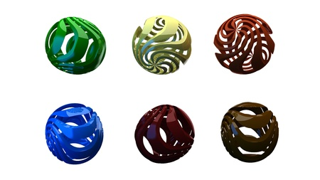 3d render of  abstract spheres of different shades on a white background Stock Photo - 9091386