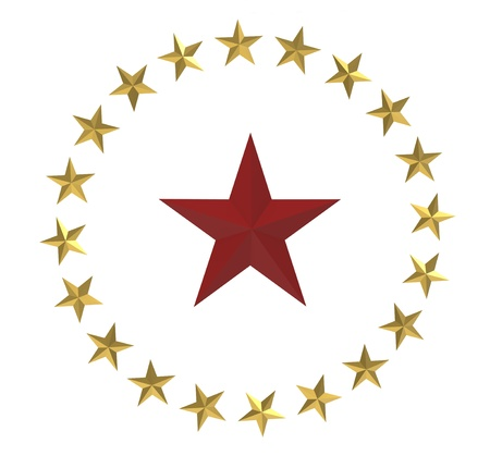 five stars: 3d render of  red and gold stars on a white background