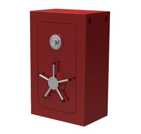 The red metal safe with a coded lock on a white background photo