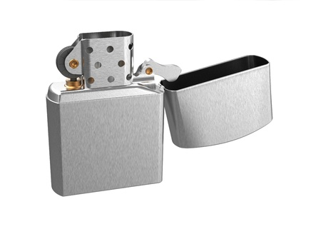 3d render of  metal petrol lighter on a white background photo