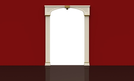 3d render of  inter with a white arch in a red room Stock Photo - 9091408