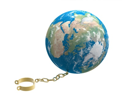 shackles: 3d render of  gold shackles chained to globe Stock Photo