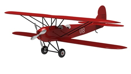 biplane: 3d render of  model ancient the plane on a white background