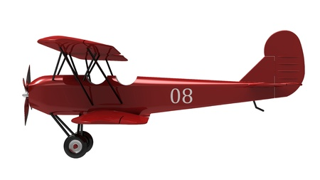 biplane: Model of the red plane on a white background