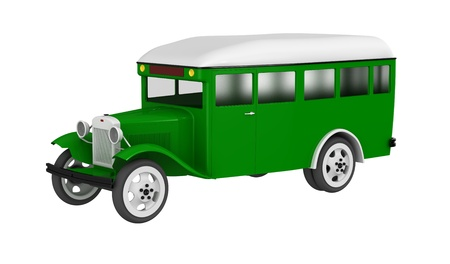 3d render of  model of the old bus on a white background photo