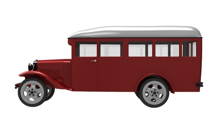 era: 3d render of  model of the ancient bus on a white background