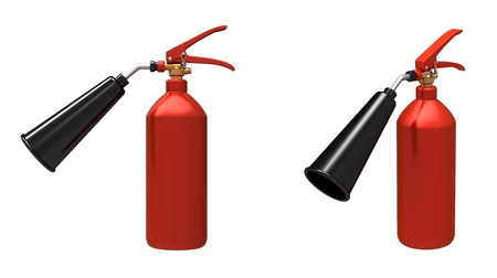 glossiness:  3d render of  red fire extinguisher on a white background