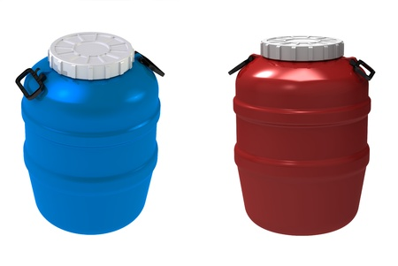 3d render of  blue and red plastic a flank on a white background photo