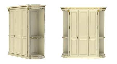 3d render of   wardrobe three-door on a white background Stock Photo - 9181119
