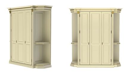 3d render of   wardrobe three-door on a white background photo