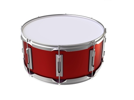 3d render of  red small drum on a white background photo