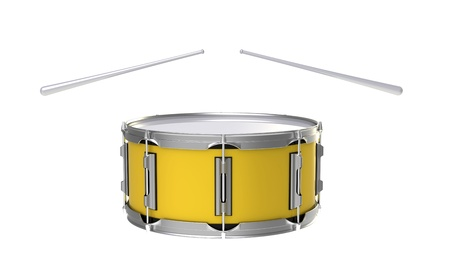 3d render of  yellow small drum with shock sticks on a white background photo