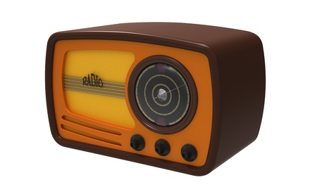 3d render of  ancient radio on a white background