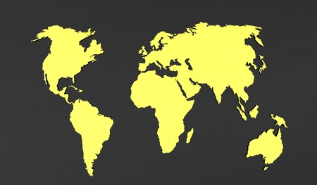 3d render of  world map on a grey background photo