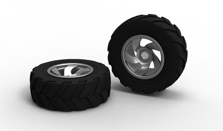 3d render of  tyres with disks on a white background photo
