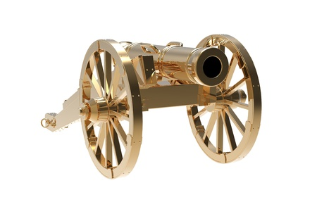 howitzer: Ancient gold gun on a white background  Stock Photo