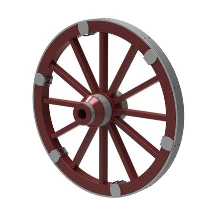 carreta madera: render 3D de antigua rueda en un borde de metal sobre un fondo blanco