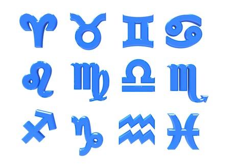 signes du zodiaque: rendu 3D de signes du zodiaque sur un fond blanc