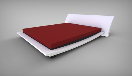 3d render of  stylish white bed with a mattress  photo
