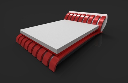 Modern bed with a red mattress on a grey background photo