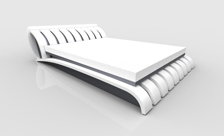 3d render of  white bed on a white background photo