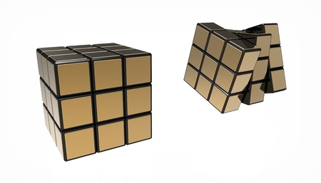 Folding cube with gold overlays on a white background Stock Photo - 9450162
