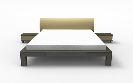 headboard: 3d render of  bed with bedside tables on a white background