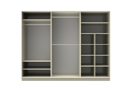 3d render of  wardrobe from three sections on a white background Stock Photo