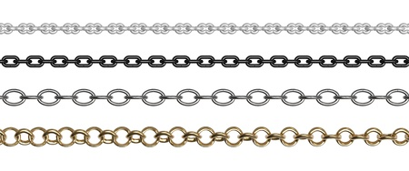 Chains of different forms and shades on a white background photo