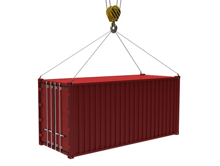 cargo container: The red cargo container with a hook on a white background