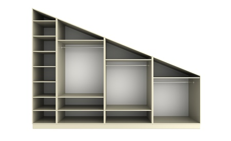 3d render of  angular wardrobe on a white background