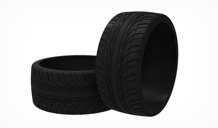 3d render of new tyres isolated on white  photo