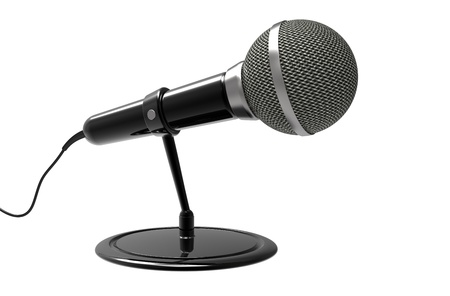 commentator: Microphone with a support on a white background Stock Photo