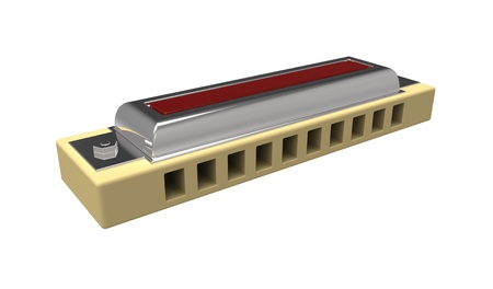 3d render of  harmonica isolated on white