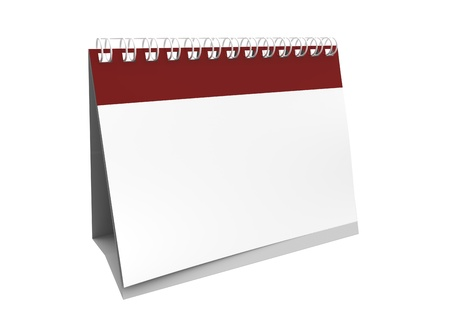 3d render of blank empty calender on white background