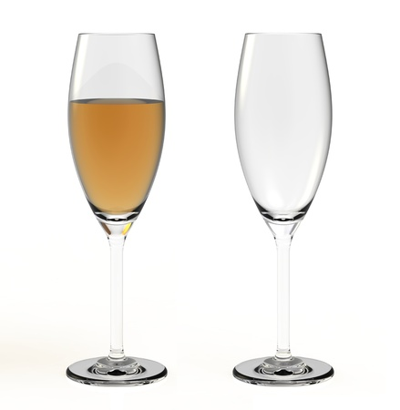 Empty and full glass on a white background photo