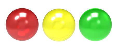 Three glass spheres of different shades on a white background Stock Photo - 9824228