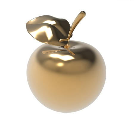 3d render of  gold apple on a white background Stock Photo - 9824229