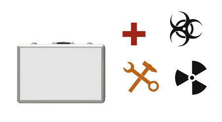 Suitcase with the handle and different signs on a white background Stock Photo - 9824232