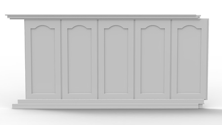 pilasters: Wooden wall panel on a white background Stock Photo