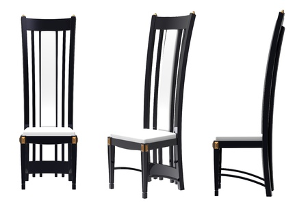 3d render of  chair with a high back on a white background Stock Photo - 9824243